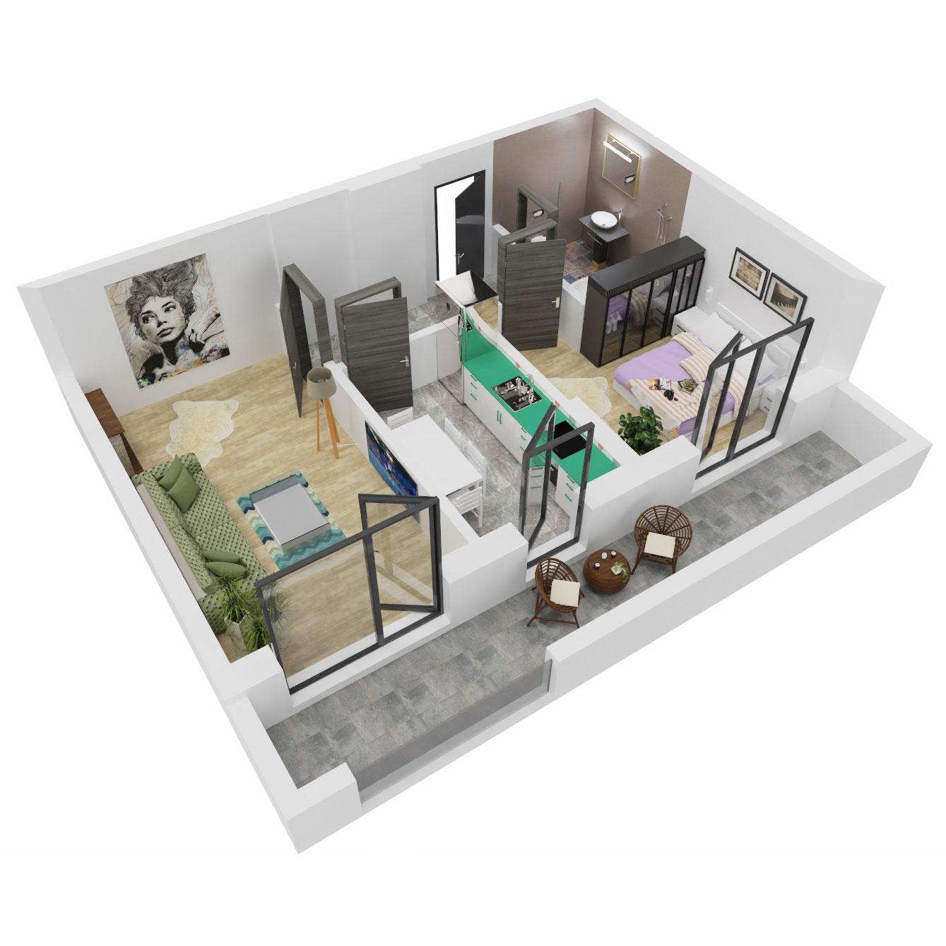 Apartament 2 camere de vanzare Bucuresti - Uverturii Residence - Militari - Lujerului - Gorjului - Tip 6 - T3 - C
