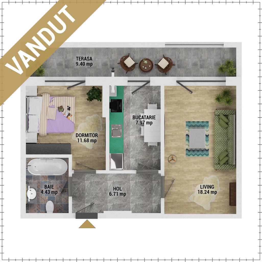 Apartament 2 camere de vanzare Bucuresti - Uverturii Residence - Militari - Lujerului - Gorjului - Tip 6 - T3 - FV