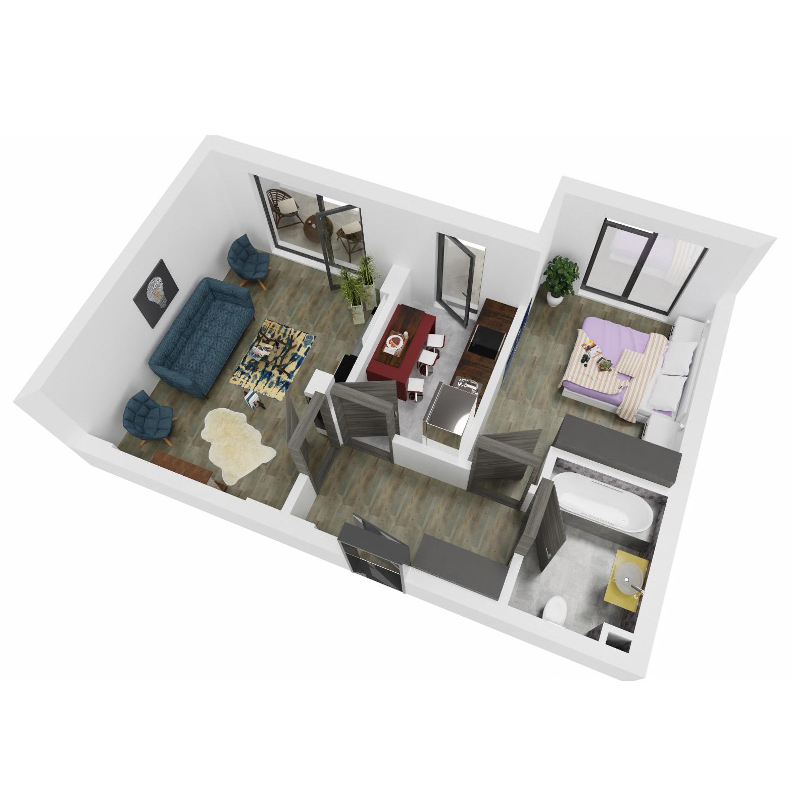 Apartament 2 camere de vanzare Bucuresti - Uverturii Residence - Militari - Lujerului - Gorjului - Tip 7 - T1 - B