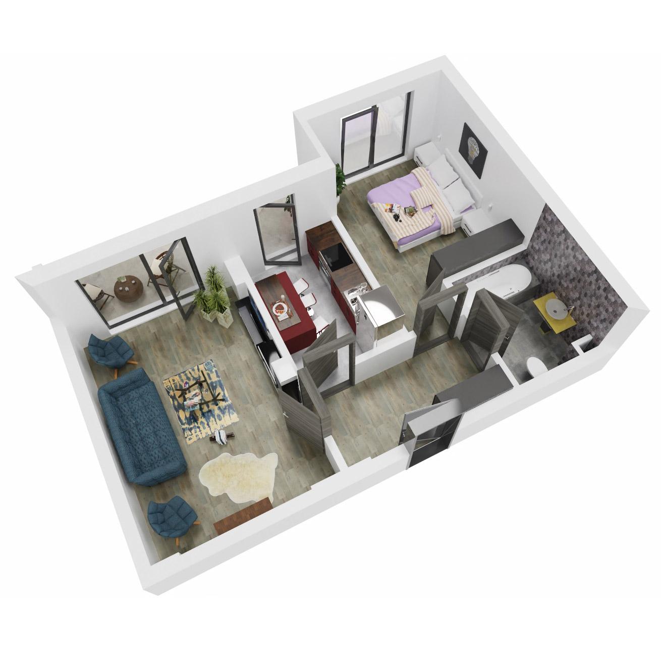 Apartament 2 camere de vanzare Bucuresti - Uverturii Residence - Militari - Lujerului - Gorjului - Tip 7 - T1 - C