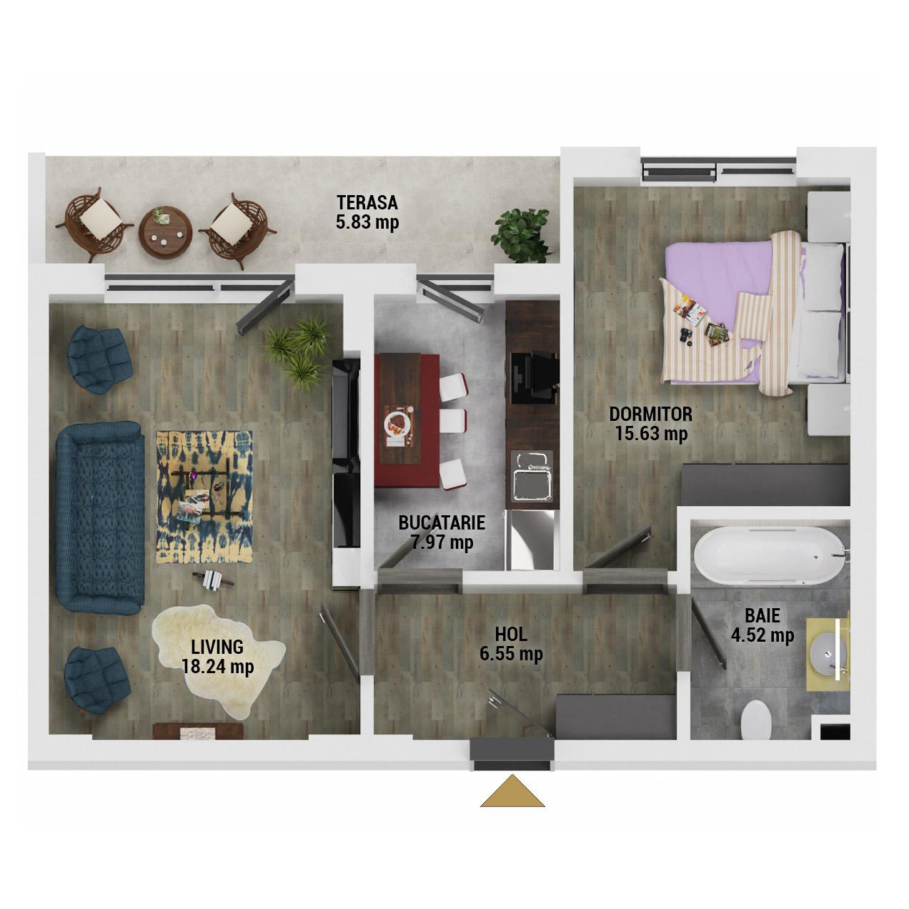 Apartament 2 camere de vanzare Bucuresti - Uverturii Residence - Militari - Lujerului - Gorjului - Tip 7 - T1 - D