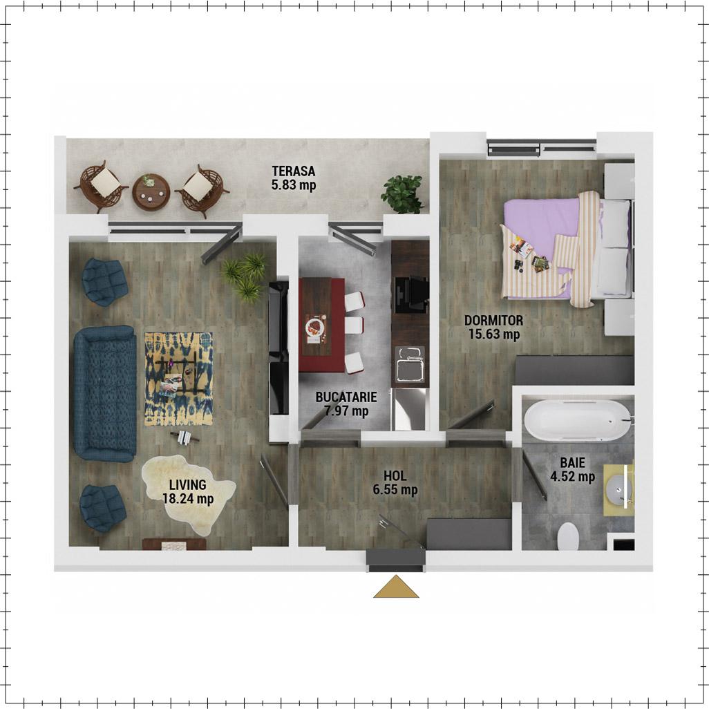 Apartament 2 camere de vanzare Bucuresti - Uverturii Residence - Militari - Lujerului - Gorjului - Tip 7 - T1 - E