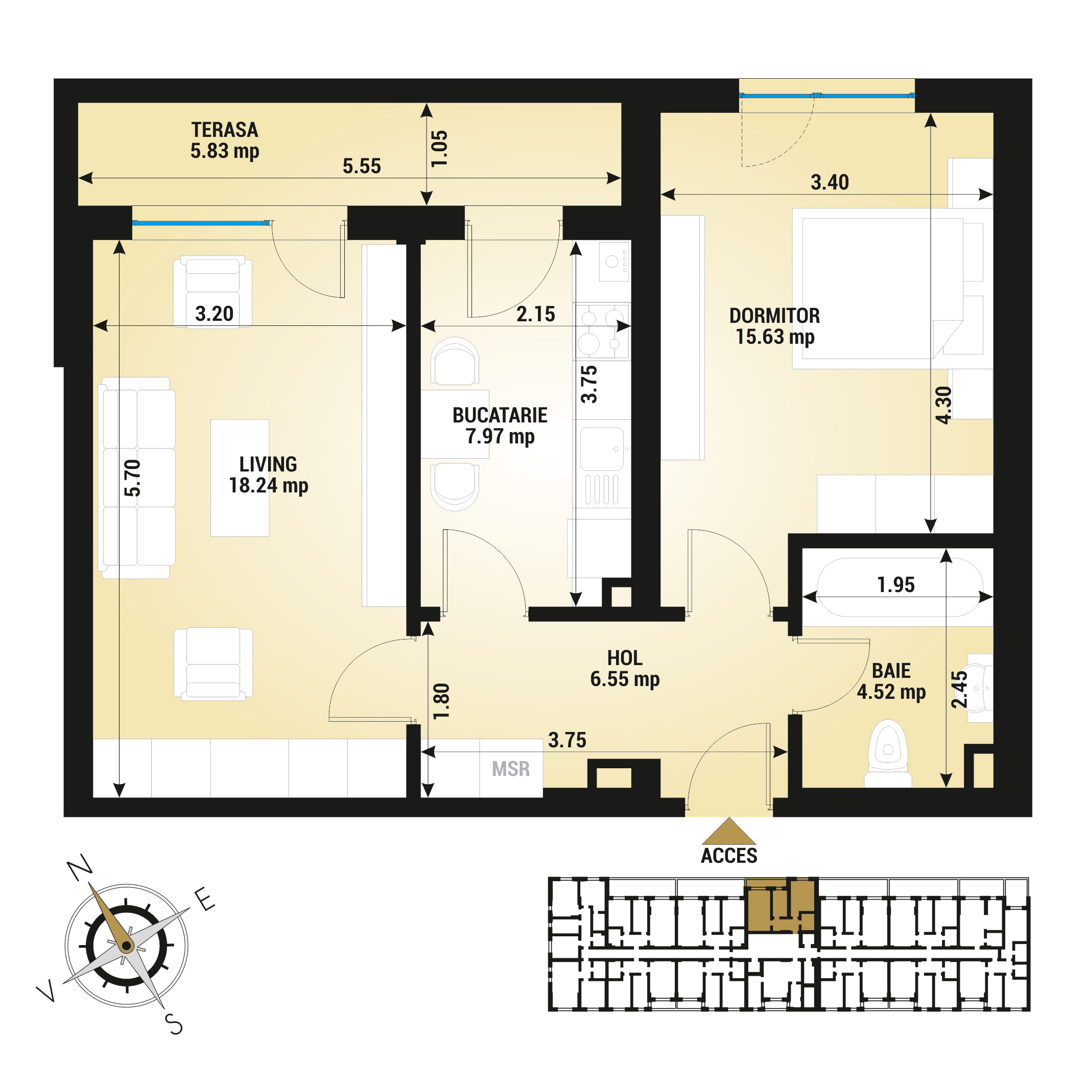 Apartament 2 camere de vanzare Bucuresti - Uverturii Residence - Militari - Lujerului - Gorjului - Tip 7 - T1