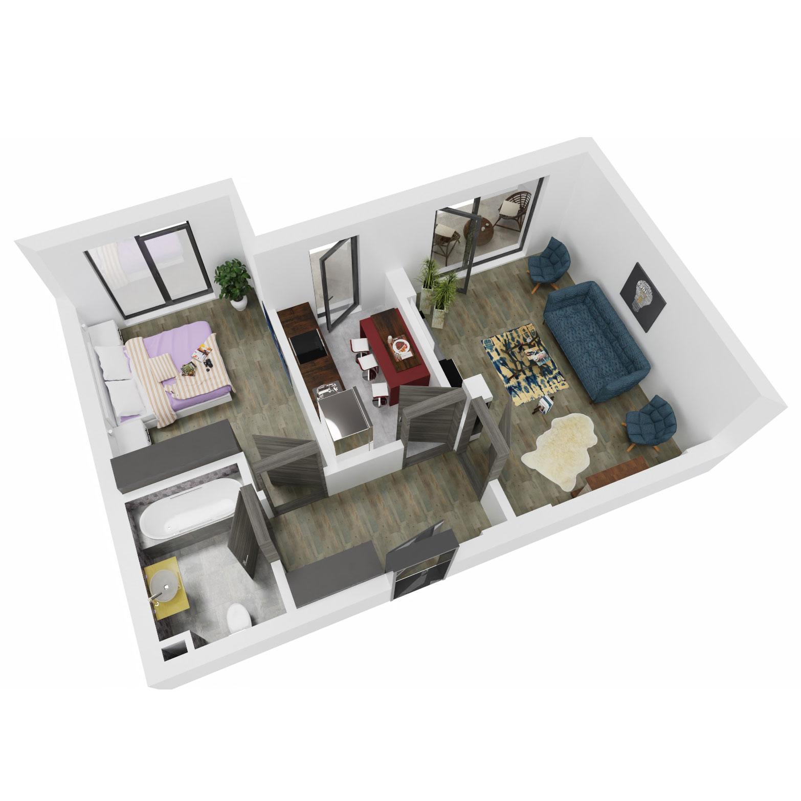 Apartament 2 camere de vanzare Bucuresti - Uverturii Residence - Militari - Lujerului - Gorjului - Tip 7 - T3 - B