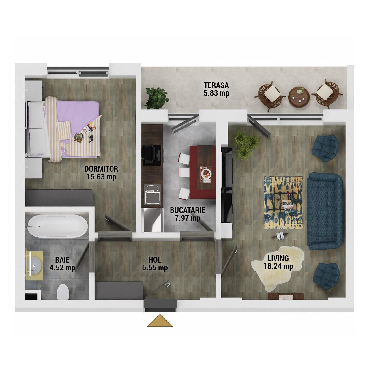 Apartament 2 camere de vanzare Bucuresti - Uverturii Residence - Militari - Lujerului - Gorjului - Tip 7 - T3 - E