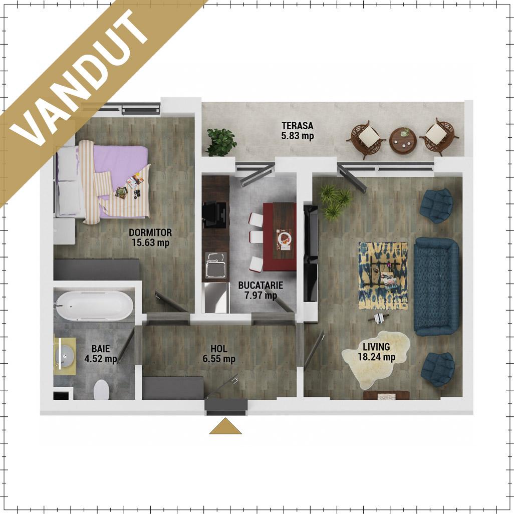 Apartament 2 camere de vanzare Bucuresti - Uverturii Residence - Militari - Lujerului - Gorjului - Tip 7 - T3 - FV
