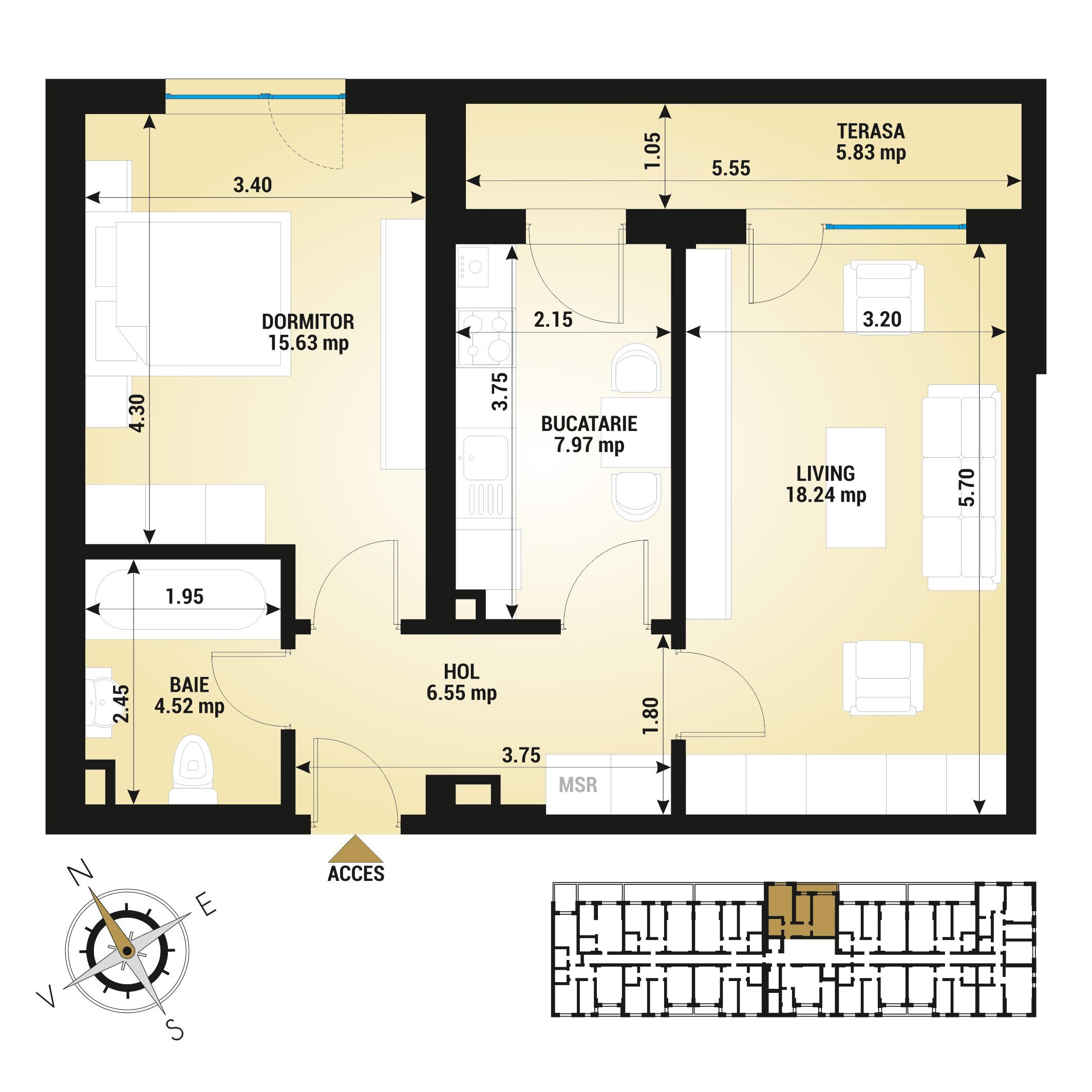 Apartament 2 camere de vanzare Bucuresti - Uverturii Residence - Militari - Lujerului - Gorjului - Tip 7 - T3