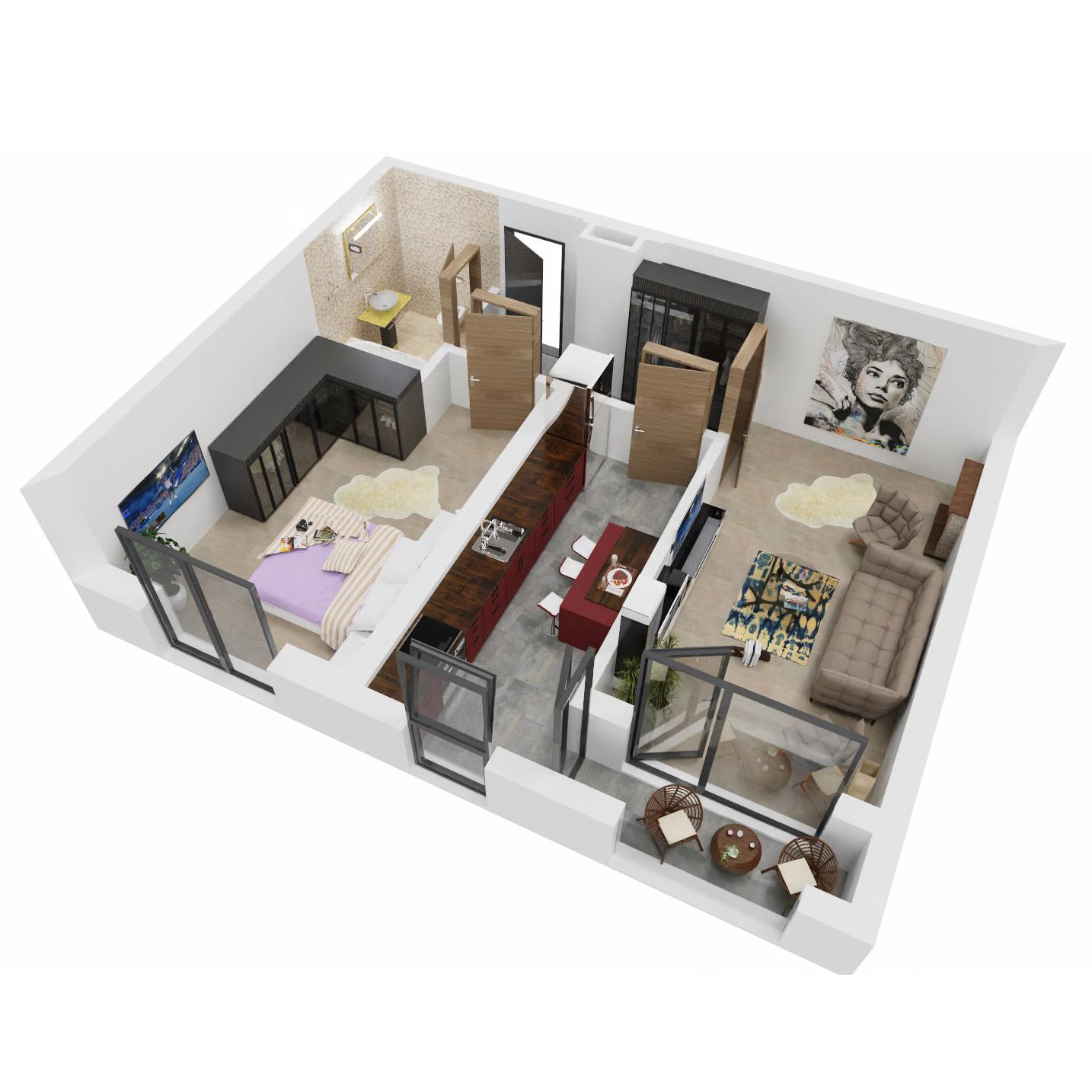 Apartament 2 camere de vanzare Bucuresti - Uverturii Residence - Militari - Lujerului - Gorjului - Tip 8 - T1 - B