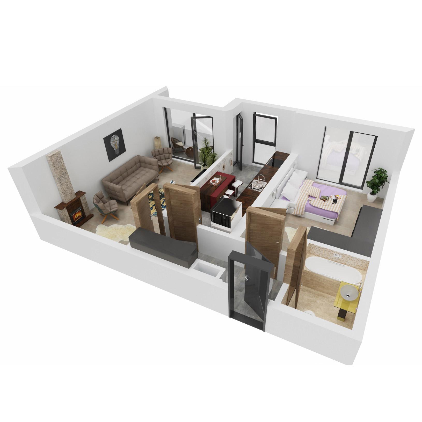 Apartament 2 camere de vanzare Bucuresti - Uverturii Residence - Militari - Lujerului - Gorjului - Tip 8 - T1 - C