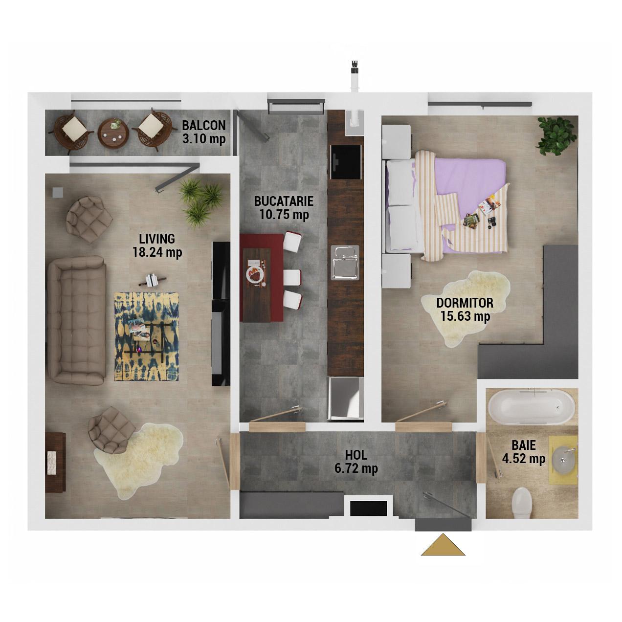 Apartament 2 camere de vanzare Bucuresti - Uverturii Residence - Militari - Lujerului - Gorjului - Tip 8 - T1 - D