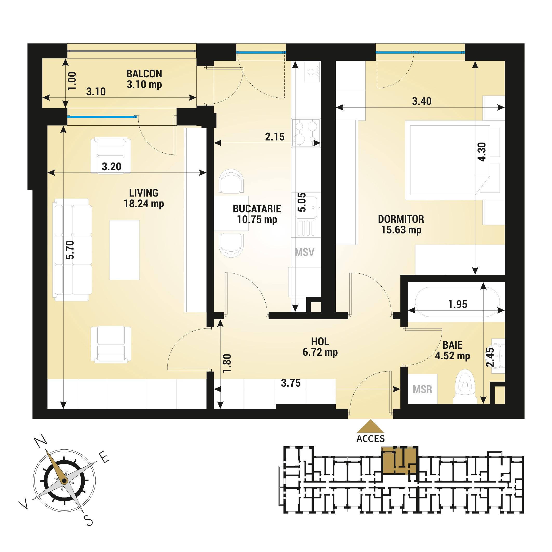 Apartament 2 camere de vanzare Bucuresti - Uverturii Residence - Militari - Lujerului - Gorjului - Tip 8 - T1