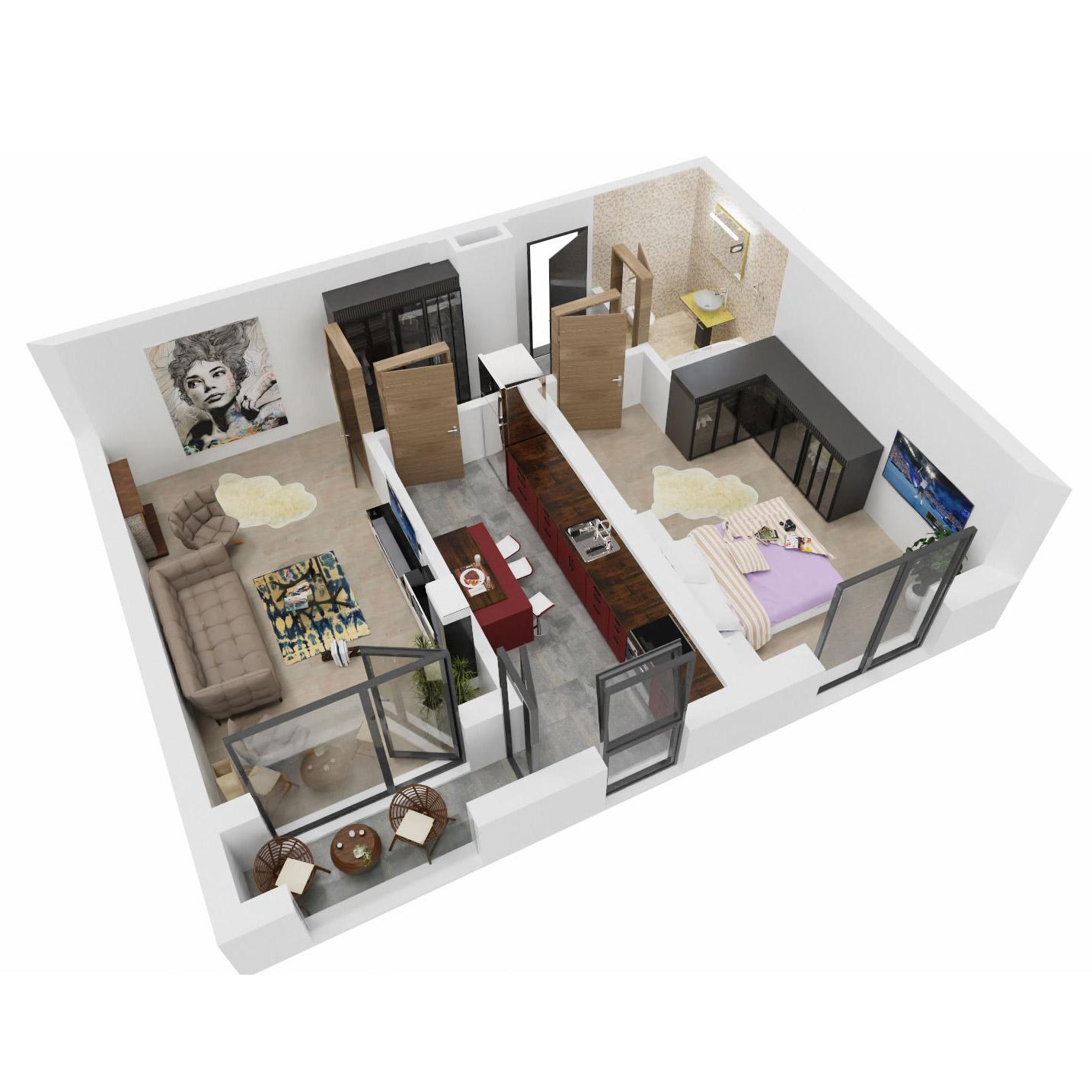 Apartament 2 camere de vanzare Bucuresti - Uverturii Residence - Militari - Lujerului - Gorjului - Tip 8 - T3 - B