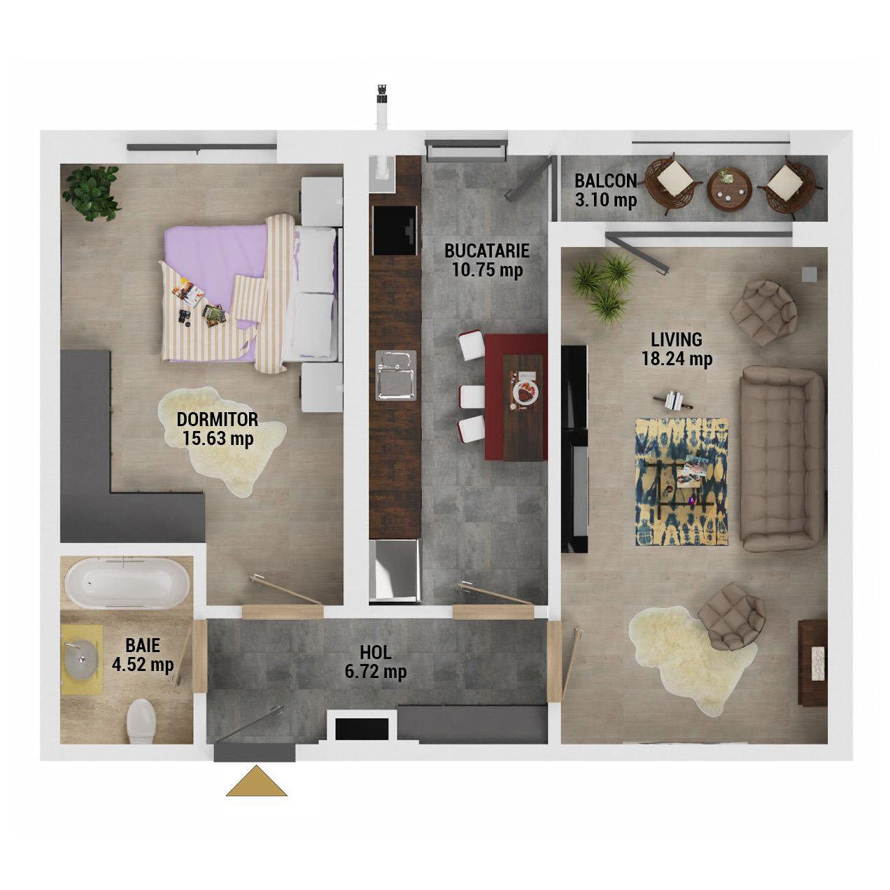 Apartament 2 camere de vanzare Bucuresti - Uverturii Residence - Militari - Lujerului - Gorjului - Tip 8 - T3 - E