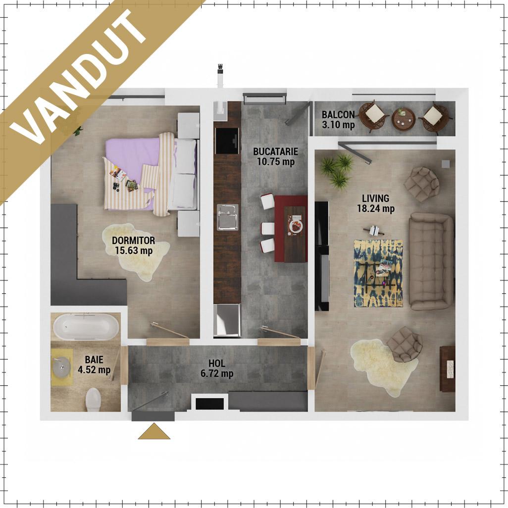 Apartament 2 camere de vanzare Bucuresti - Uverturii Residence - Militari - Lujerului - Gorjului - Tip 8 - T3 - FV