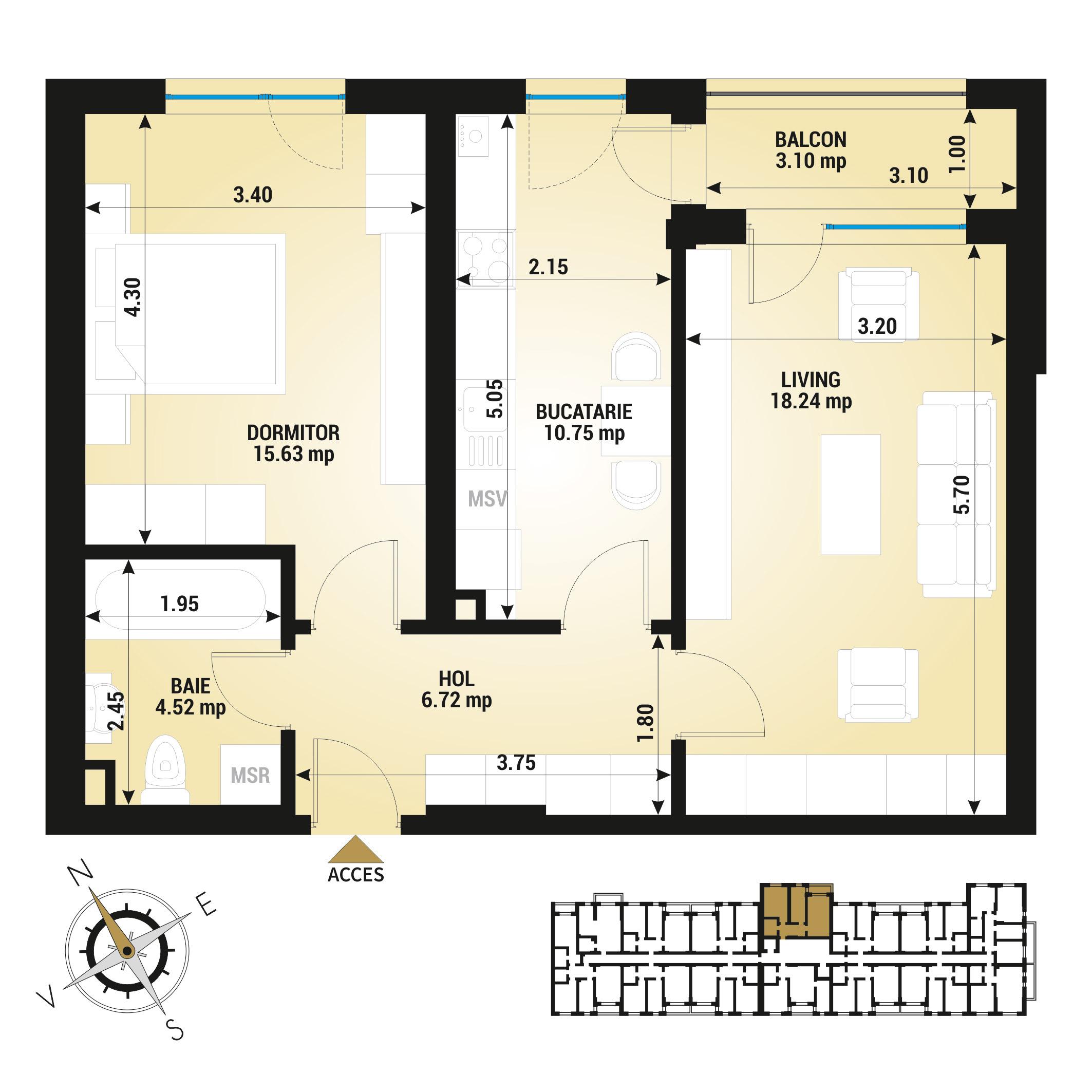 Apartament 2 camere de vanzare Bucuresti - Uverturii Residence - Militari - Lujerului - Gorjului - Tip 8 - T3