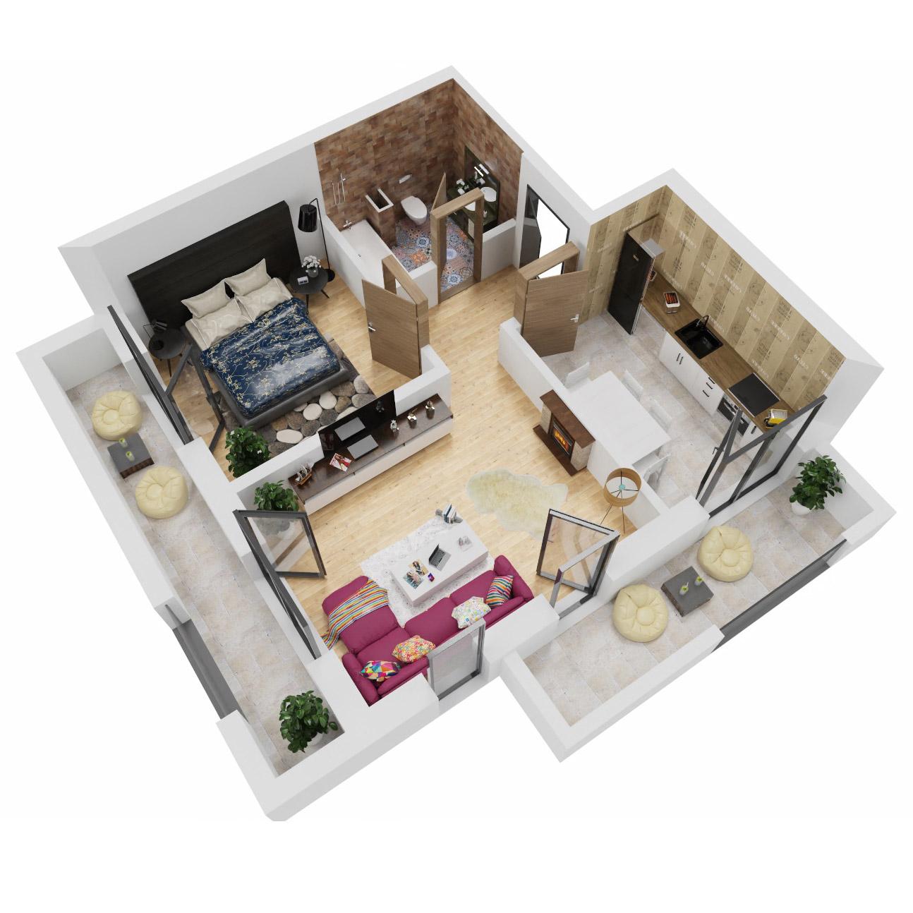 Apartament 2 camere de vanzare Bucuresti - Uverturii Residence - Militari - Lujerului - Gorjului - Tip 9 - T1 - A