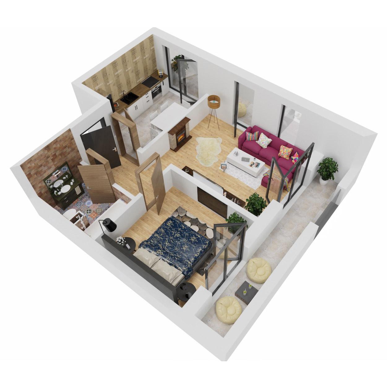 Apartament 2 camere de vanzare Bucuresti - Uverturii Residence - Militari - Lujerului - Gorjului - Tip 9 - T1 - B