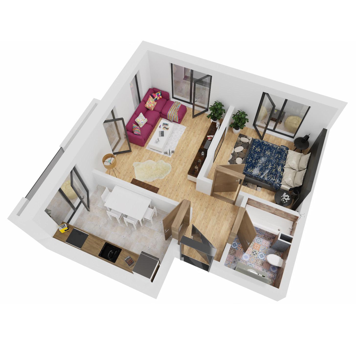 Apartament 2 camere de vanzare Bucuresti - Uverturii Residence - Militari - Lujerului - Gorjului - Tip 9 - T1 - C