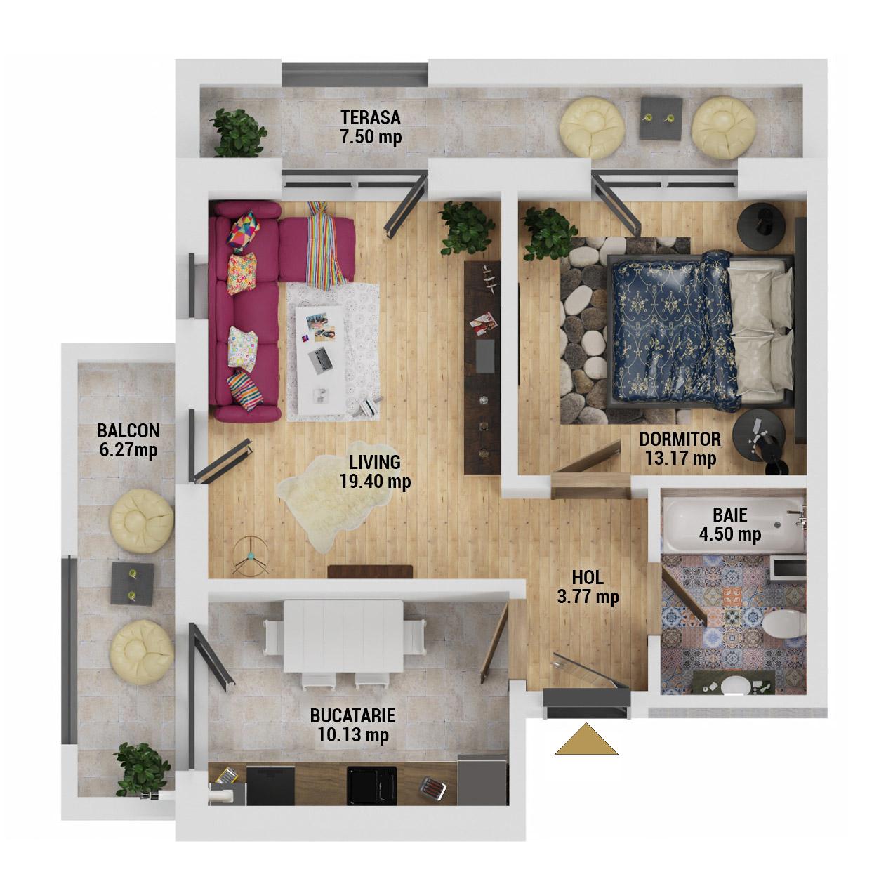 Apartament 2 camere de vanzare Bucuresti - Uverturii Residence - Militari - Lujerului - Gorjului - Tip 9 - T1 - D