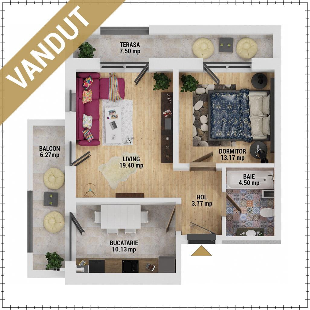 Apartament 2 camere de vanzare Bucuresti - Uverturii Residence - Militari - Lujerului - Gorjului - Tip 9 - T1 - EV