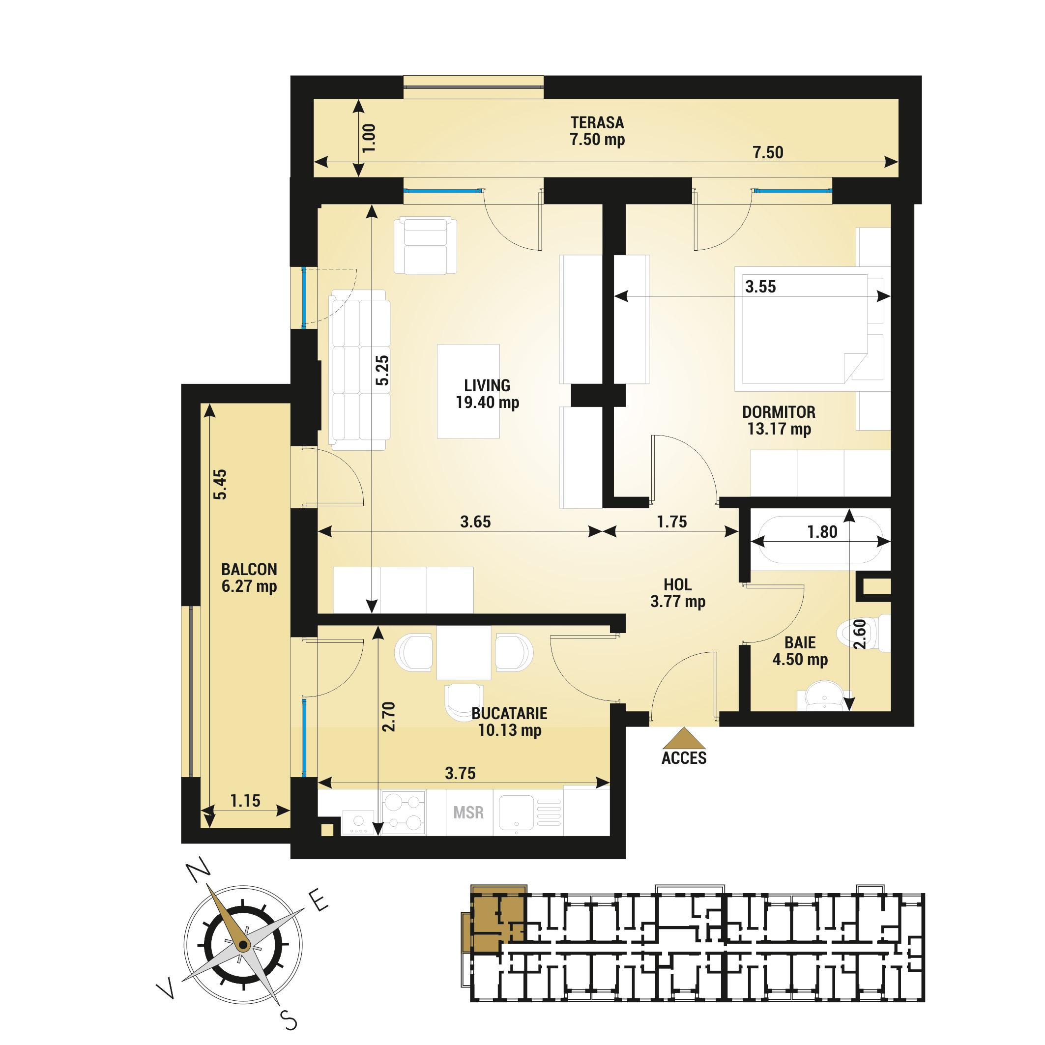 Apartament 2 camere de vanzare Bucuresti - Uverturii Residence - Militari - Lujerului - Gorjului - Tip 9 - T1