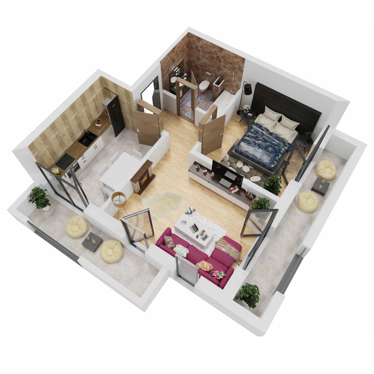Apartament 2 camere de vanzare Bucuresti - Uverturii Residence - Militari - Lujerului - Gorjului - Tip 9 - T3 - A