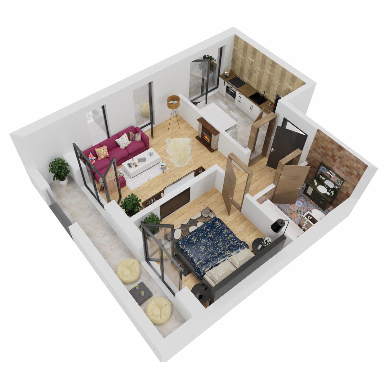 Apartament 2 camere de vanzare Bucuresti - Uverturii Residence - Militari - Lujerului - Gorjului - Tip 9 - T3 - B