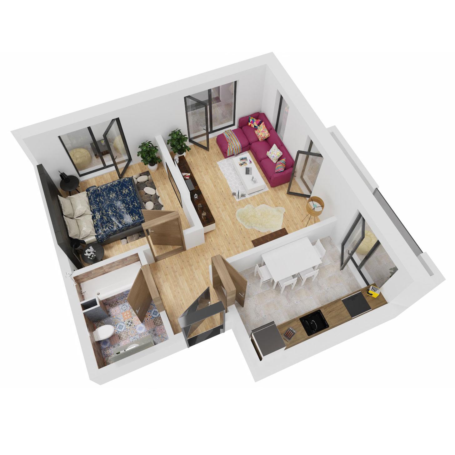 Apartament 2 camere de vanzare Bucuresti - Uverturii Residence - Militari - Lujerului - Gorjului - Tip 9 - T3 - C