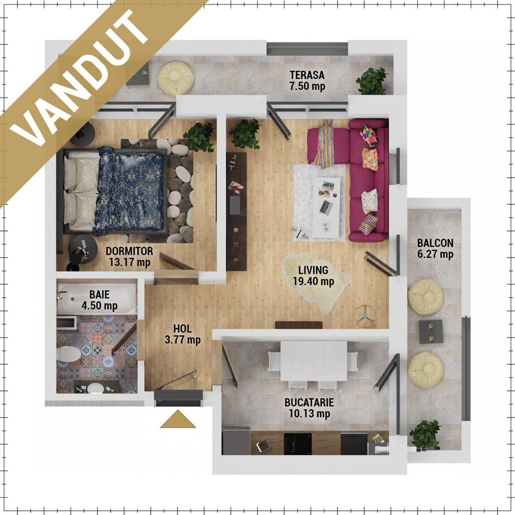 Apartament 2 camere de vanzare Bucuresti - Uverturii Residence - Militari - Lujerului - Gorjului - Tip 9 - T3 - FV