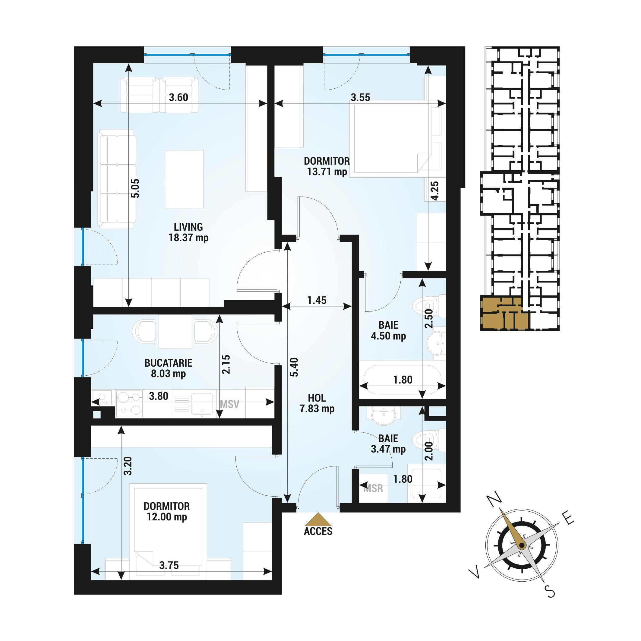Apartamente 3 camere de vanzare Bucuresti - Uverturii Residence - Militari - Lujerului - Gorjului - Tip 1 - T1