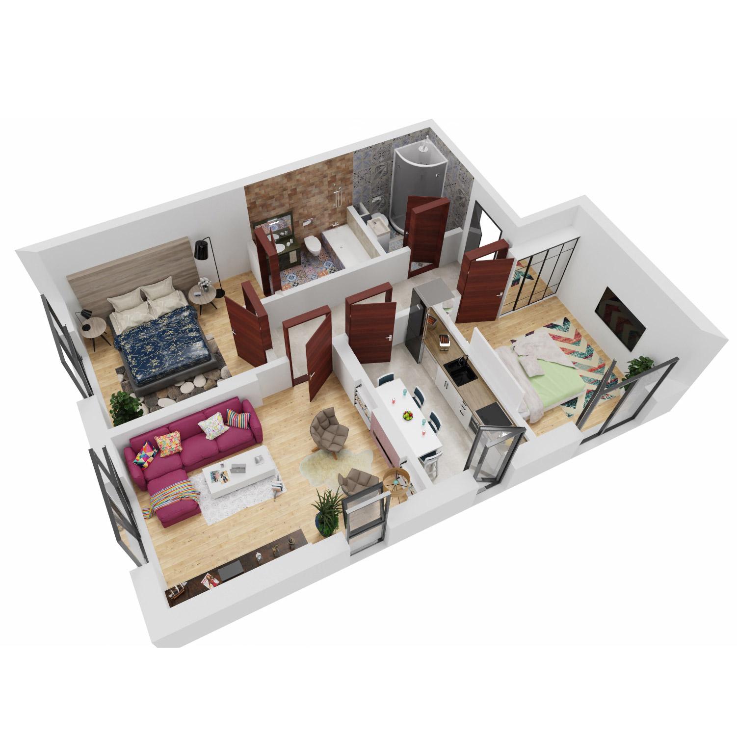 Apartamente 3 camere de vanzare Bucuresti - Uverturii Residence - Militari - Lujerului - Gorjului - Tip 1D - T1 - A