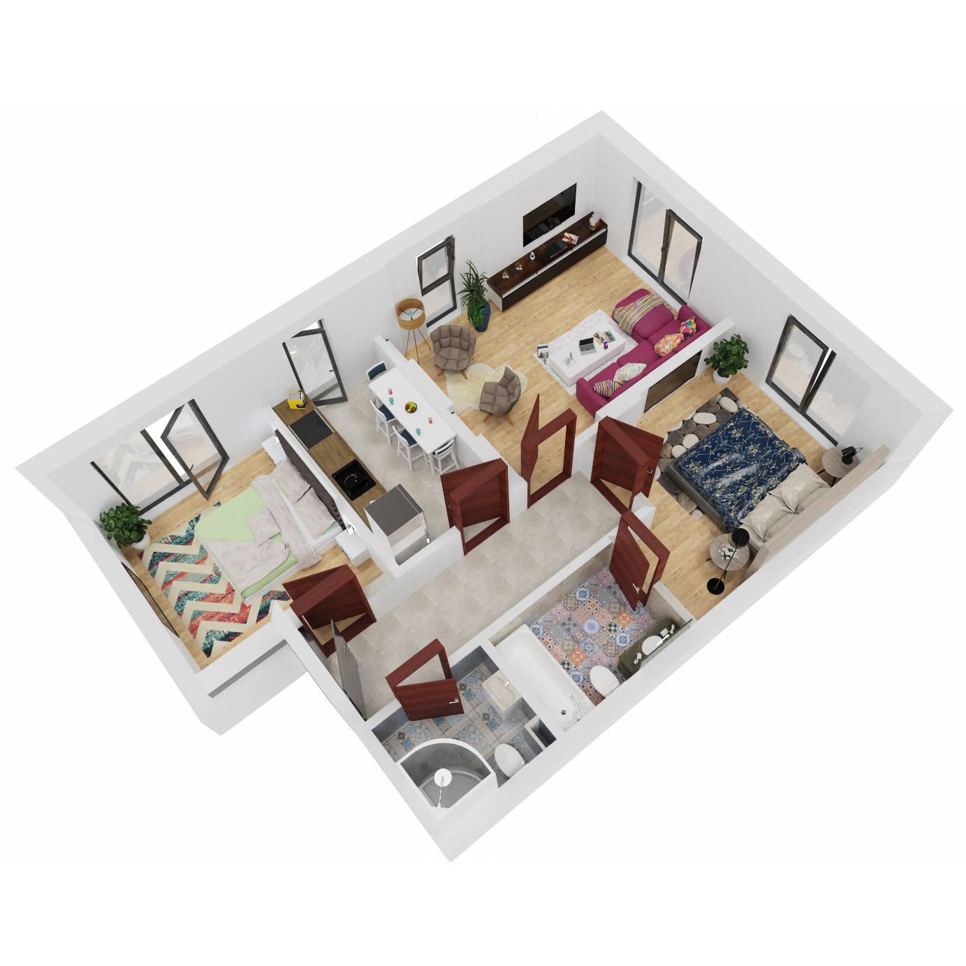 Apartamente 3 camere de vanzare Bucuresti - Uverturii Residence - Militari - Lujerului - Gorjului - Tip 1D - T1 - B
