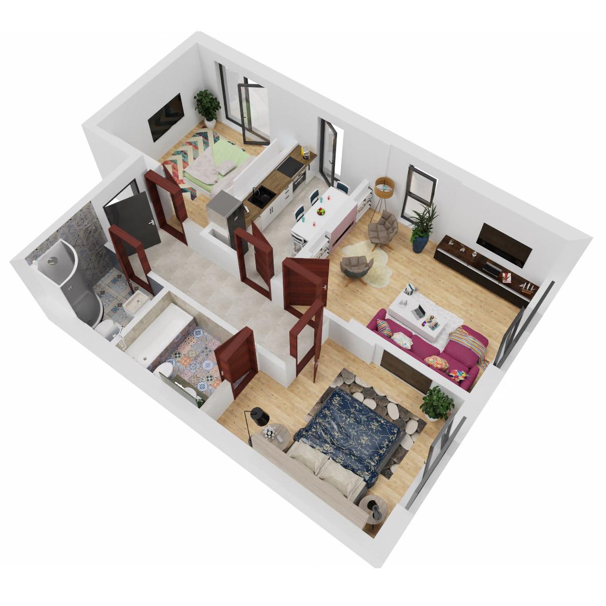 Apartamente 3 camere de vanzare Bucuresti - Uverturii Residence - Militari - Lujerului - Gorjului - Tip 1D - T1 - C