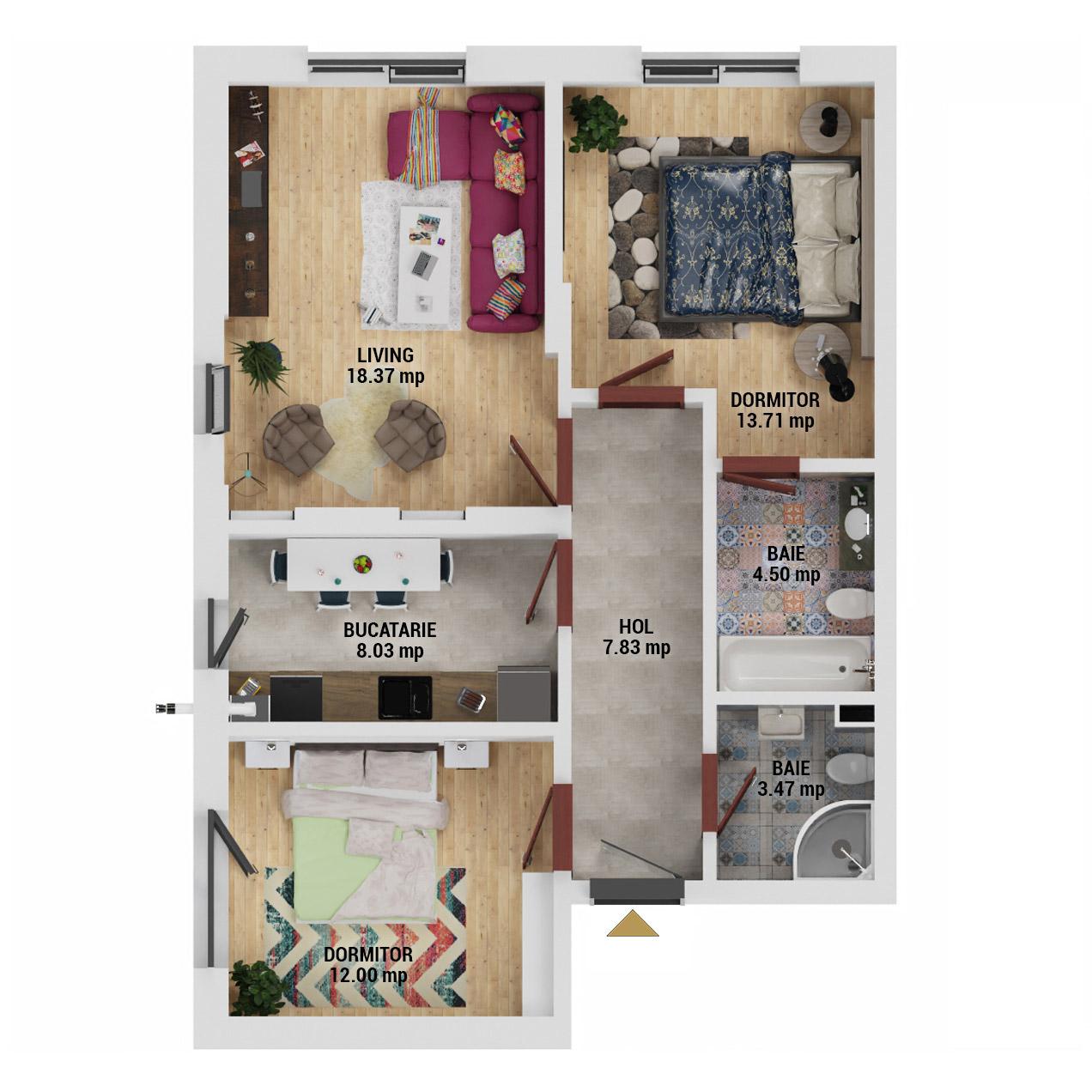 Apartamente 3 camere de vanzare Bucuresti - Uverturii Residence - Militari - Lujerului - Gorjului - Tip 1 - T1 - D