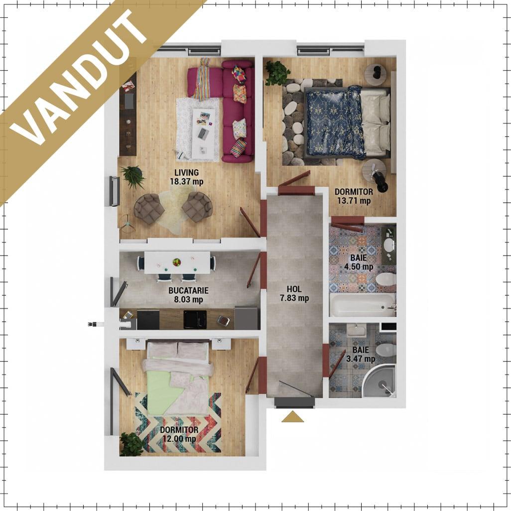 Apartamente 3 camere de vanzare Bucuresti - Uverturii Residence - Militari - Lujerului - Gorjului - Tip 1 - T1 - V