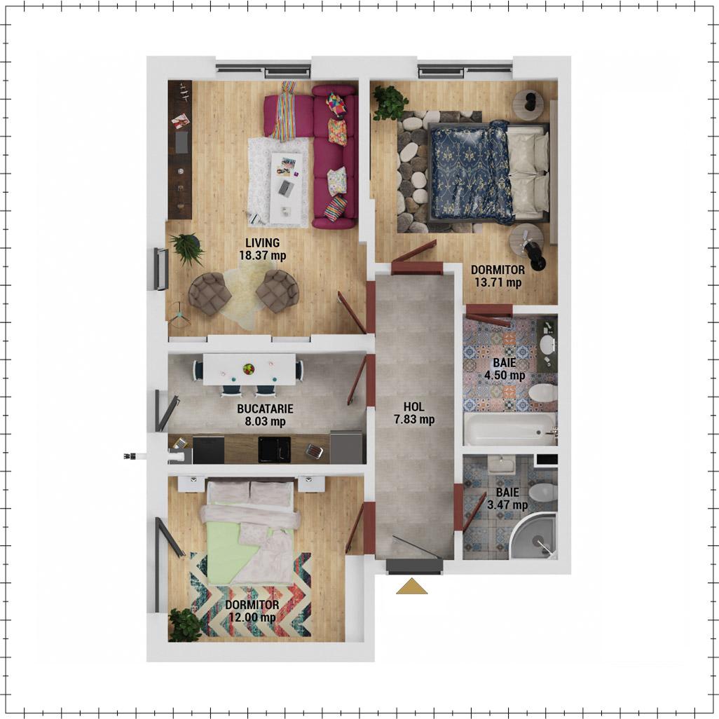 Apartamente 3 camere de vanzare Bucuresti - Uverturii Residence - Militari - Lujerului - Gorjului - Tip 1D - T1 - E