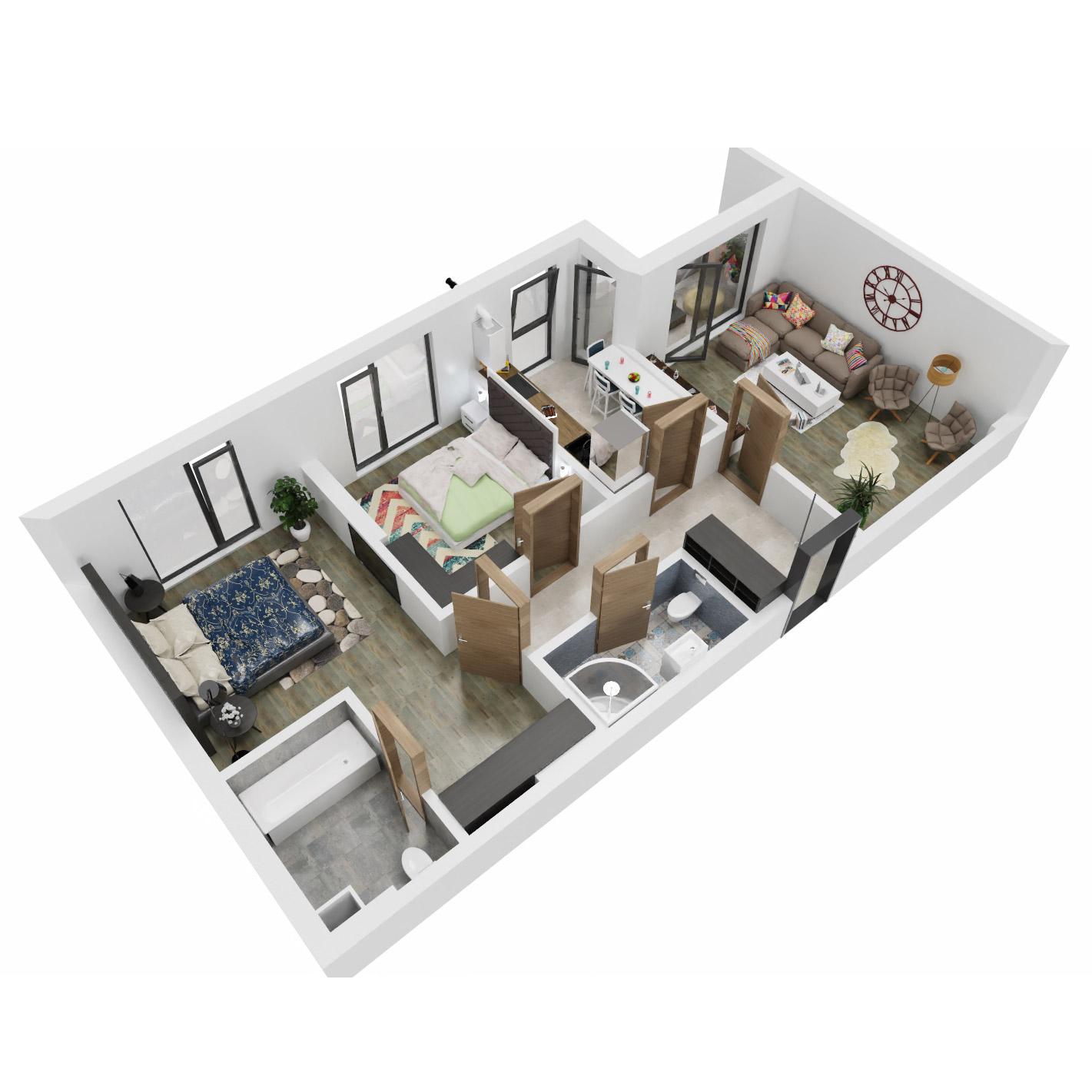 Apartamente 3 camere de vanzare Bucuresti - Uverturii Residence - Militari - Lujerului - Gorjului - Tip 1 - T2 - C