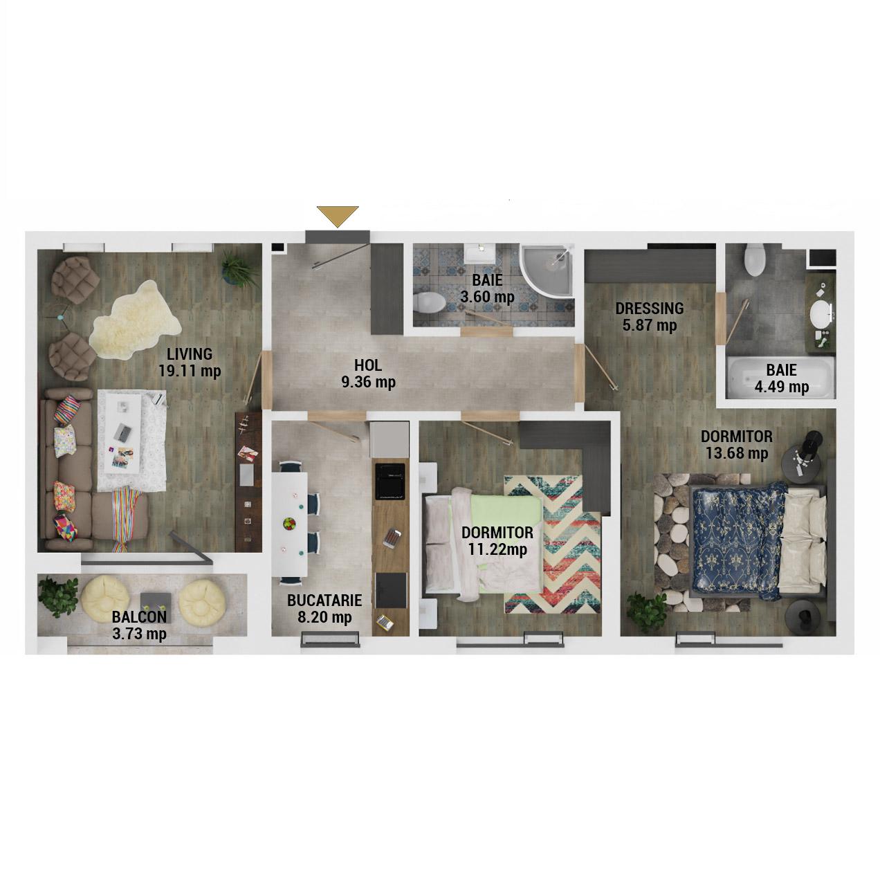 Apartamente 3 camere de vanzare Bucuresti - Uverturii Residence - Militari - Lujerului - Gorjului - Tip 1 - T2 - D