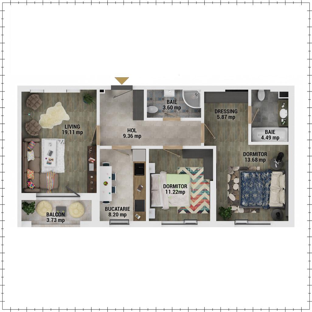 Apartamente 3 camere de vanzare Bucuresti - Uverturii Residence - Militari - Lujerului - Gorjului - Tip 1 - T2 - E