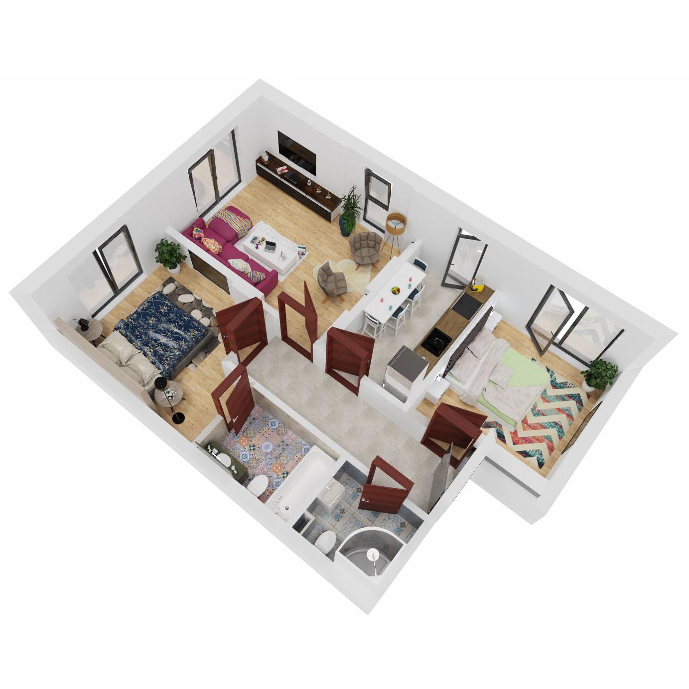 Apartamente 3 camere de vanzare Bucuresti - Uverturii Residence - Militari - Lujerului - Gorjului - Tip 1 - T3 - B