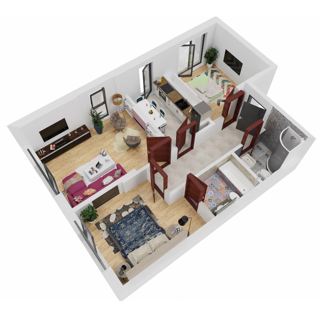Apartamente 3 camere de vanzare Bucuresti - Uverturii Residence - Militari - Lujerului - Gorjului - Tip 1 - T3 - C