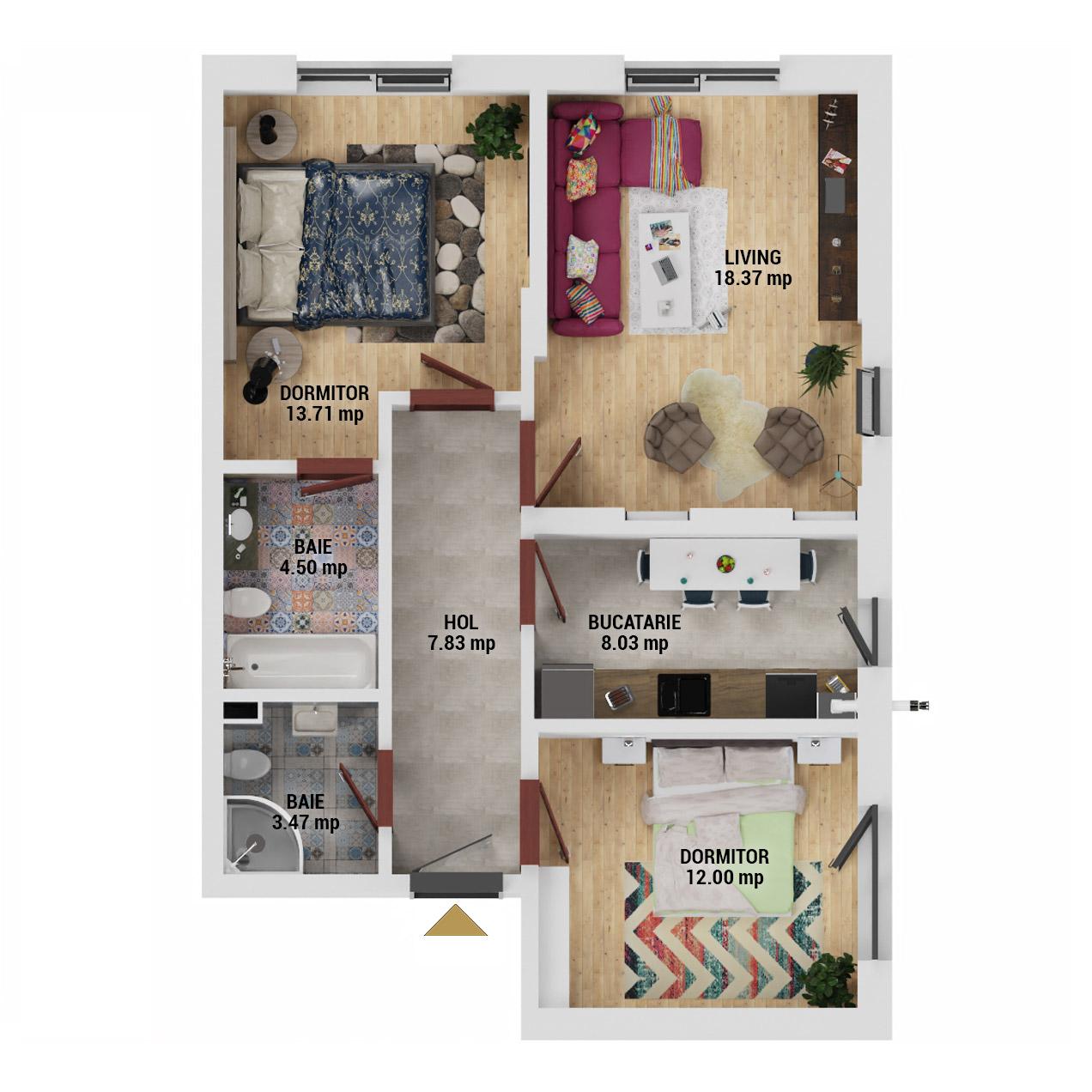 Apartamente 3 camere de vanzare Bucuresti - Uverturii Residence - Militari - Lujerului - Gorjului - Tip 1 - T3 - E