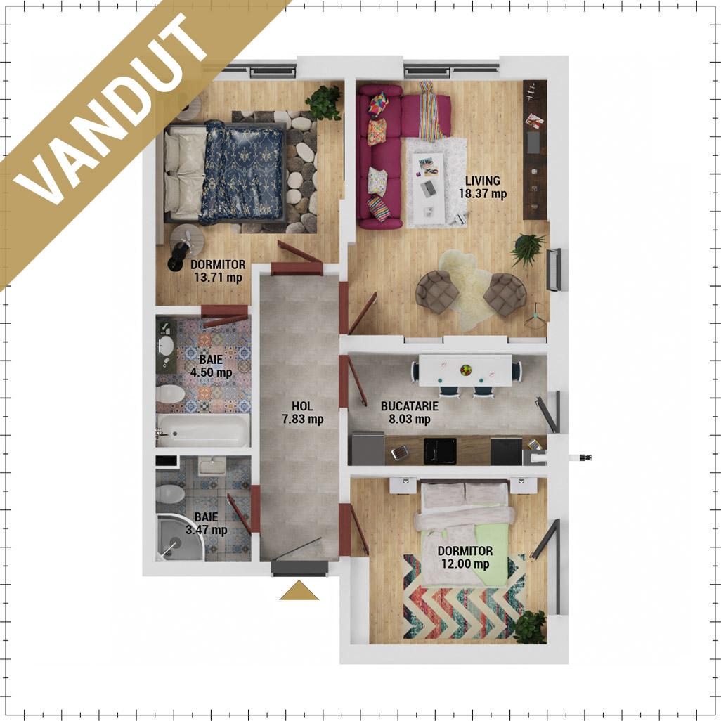 Apartamente 3 camere de vanzare Bucuresti - Uverturii Residence - Militari - Lujerului - Gorjului - Tip 1 - T3 - FV