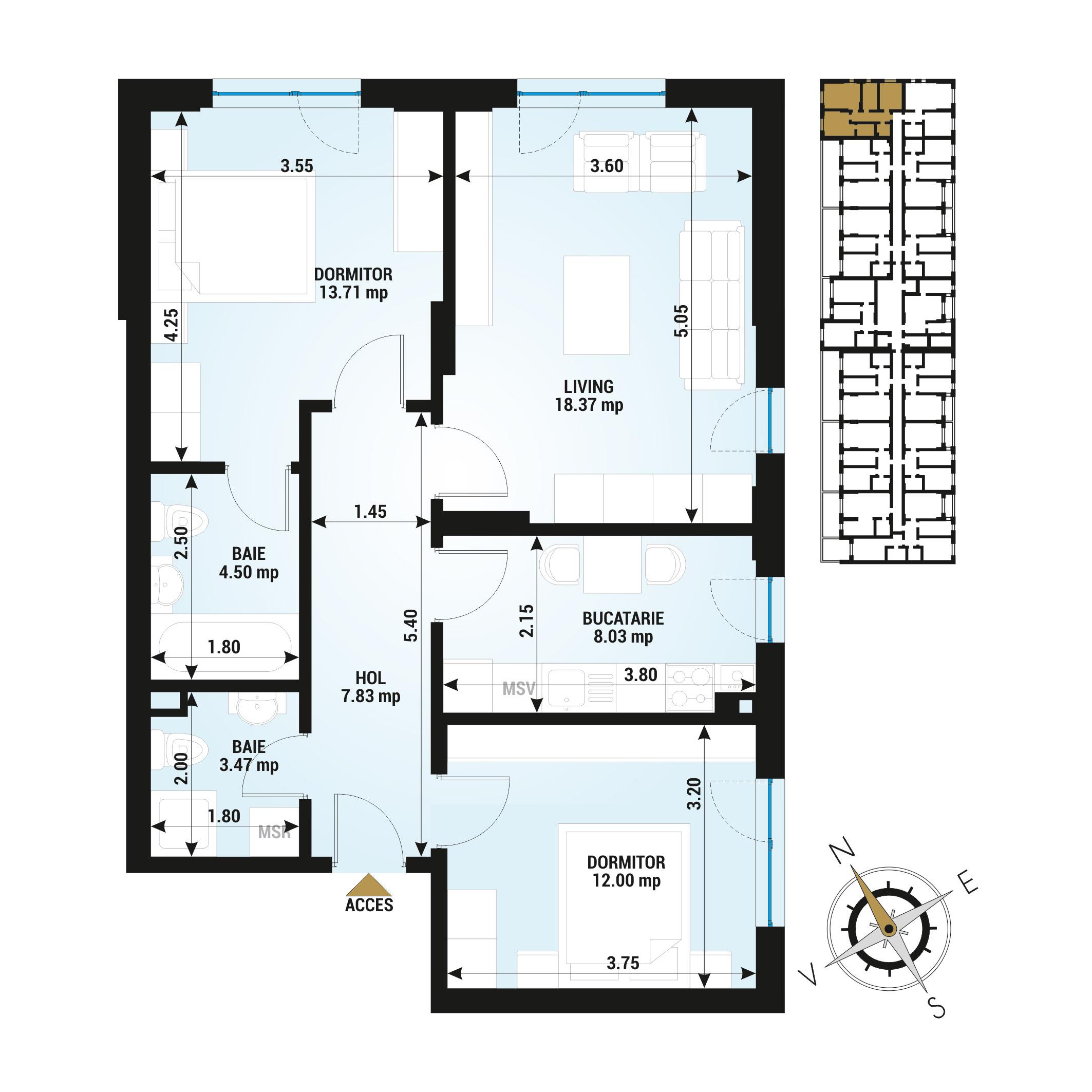 Apartamente 3 camere de vanzare Bucuresti - Uverturii Residence - Militari - Lujerului - Gorjului - Tip 1 - T3