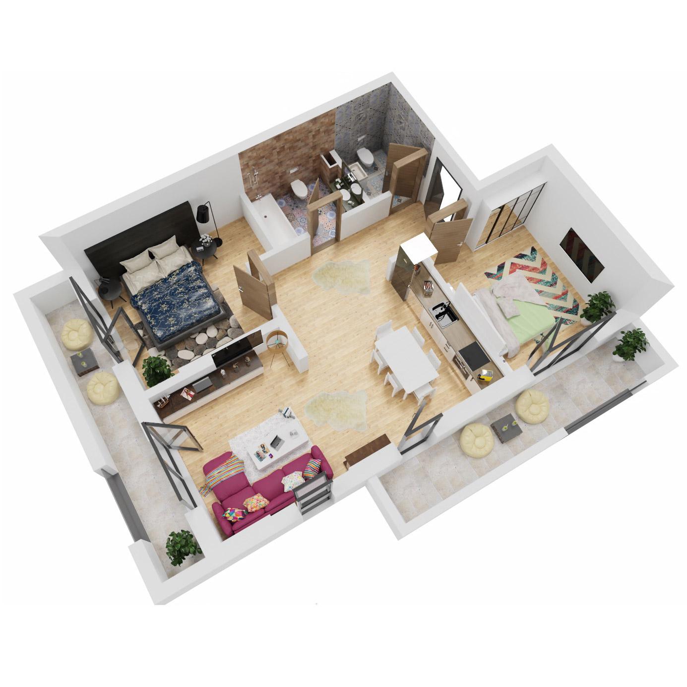 Apartamente 3 camere de vanzare Bucuresti - Uverturii Residence - Militari - Lujerului - Gorjului - Tip 2 - T1 - A