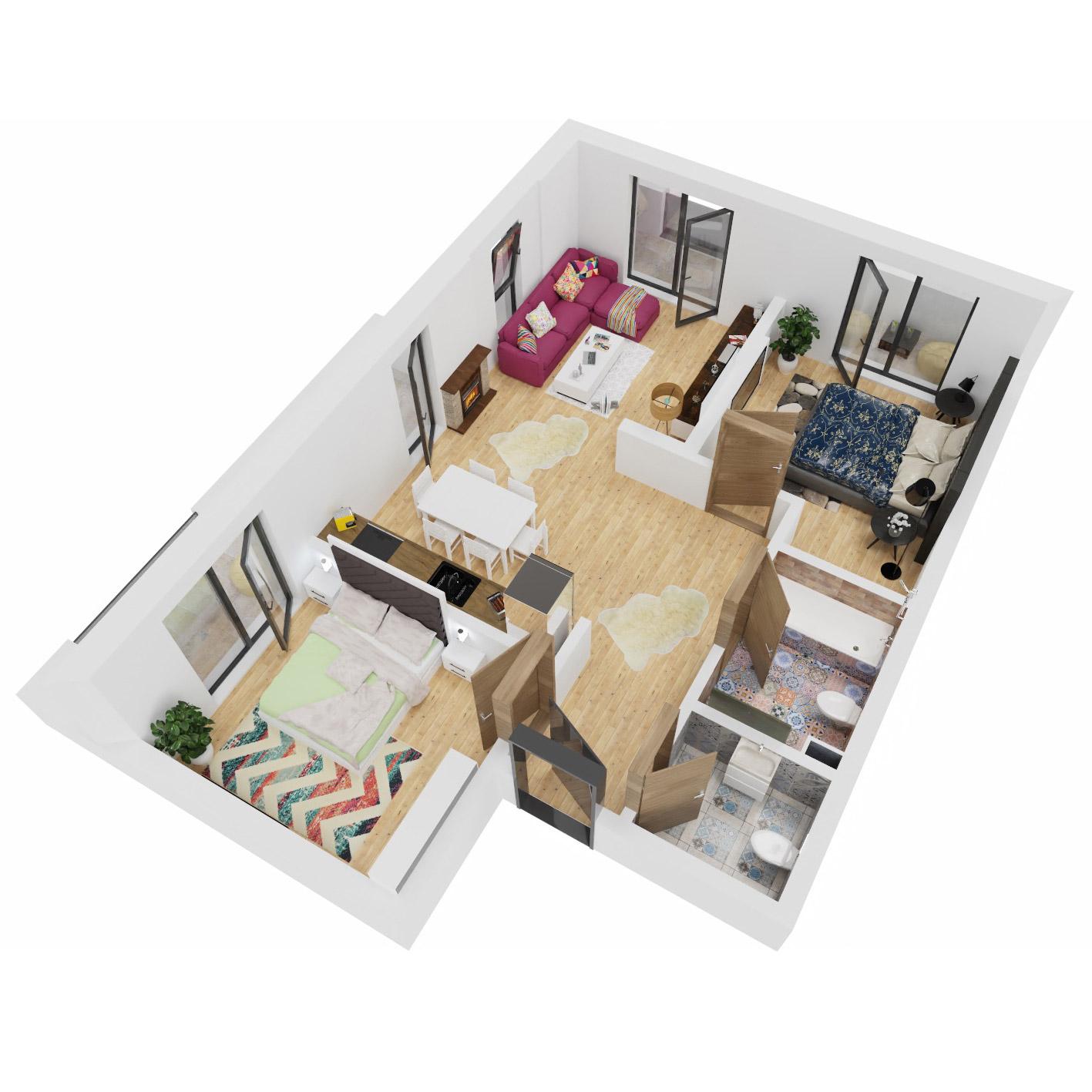Apartamente 3 camere de vanzare Bucuresti - Uverturii Residence - Militari - Lujerului - Gorjului - Tip 2 - T1 - B