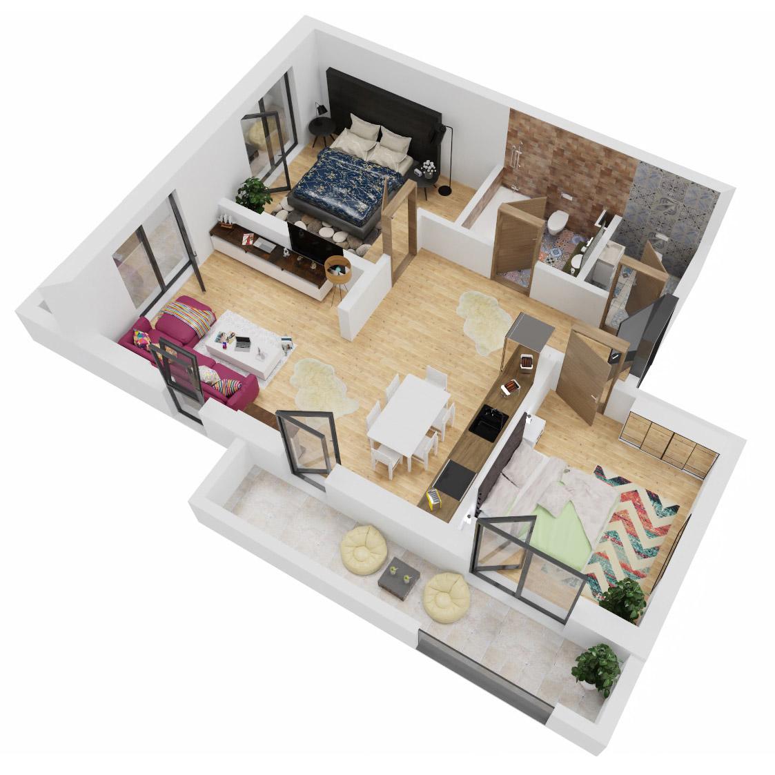 Apartamente 3 camere de vanzare Bucuresti - Uverturii Residence - Militari - Lujerului - Gorjului - Tip 2 - T1 - C