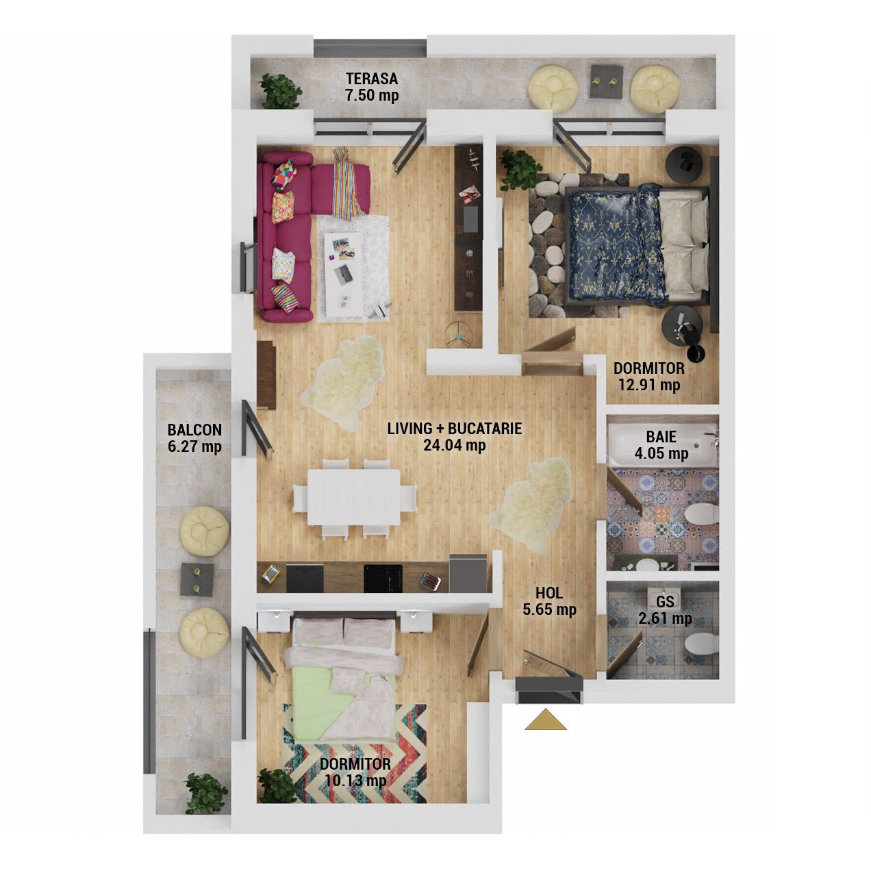 Apartamente 3 camere de vanzare Bucuresti - Uverturii Residence - Militari - Lujerului - Gorjului - Tip 2 - T1 - D
