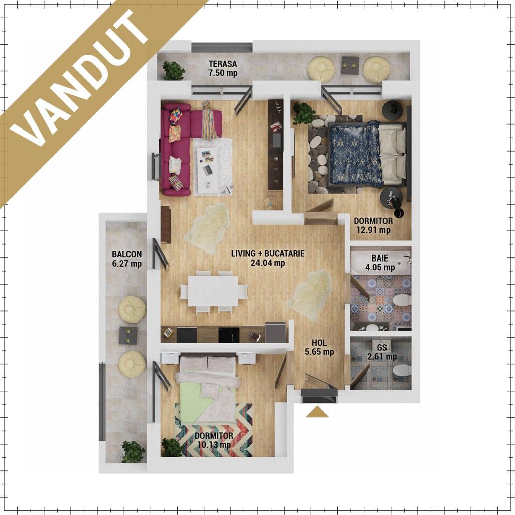 Apartamente 3 camere de vanzare Bucuresti - Uverturii Residence - Militari - Lujerului - Gorjului - Tip 2 - T1 - E - VANDUT