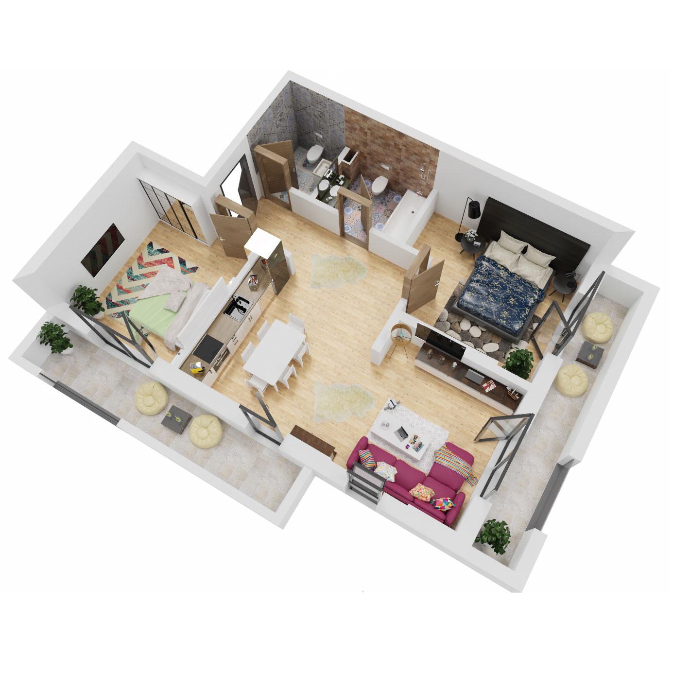 Apartamente 3 camere de vanzare Bucuresti - Uverturii Residence - Militari - Lujerului - Gorjului - Tip 2 - T3 - A